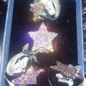 Jewelry - Vintage cz pave arora borealis Star rhodium ring